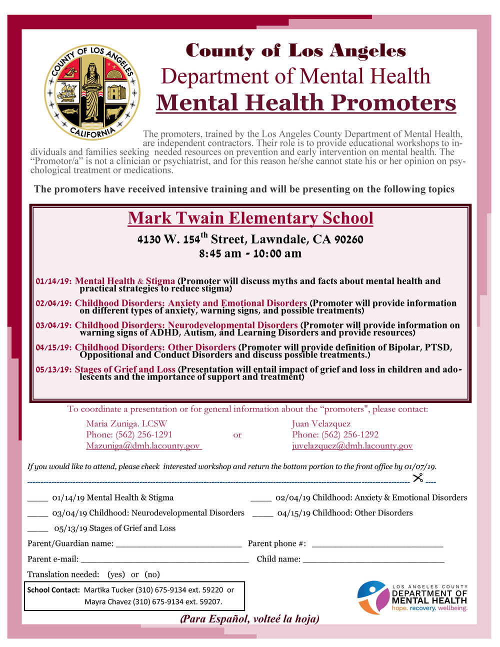 Mental health workshops flyer