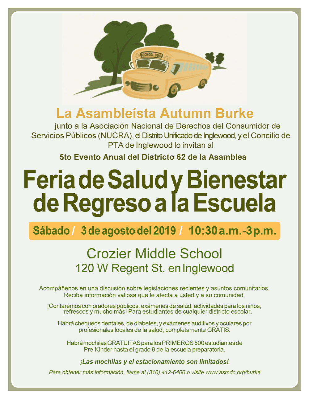 Back-to-School Health Fair Flyer Spanish